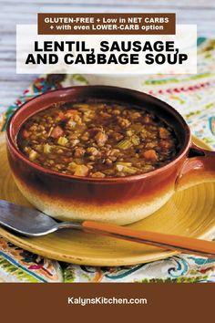 Lentils And Sausage, Lentil Sausage Soup, Lentil Soup Recipes, Chili Recipes, Recipes Using Beans, Legumes Recipe, Gluten Free Soup, South Beach Diet, Cabbage Soup