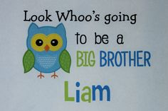 Big Brother Owl Personalized bodysuit or toddler shirt by TeeterTotz on Etsy