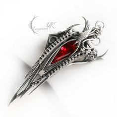 NUVINTRAX - silver , red quartz by LUNARIEEN.deviantart.com on @deviantART