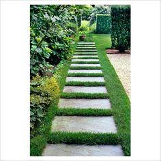 modern garden cement squares walkway