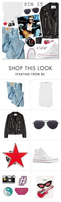 """George Michael"" by mada-malureanu ❤ liked on Polyvore featuring Dickies, Bassike, Acne Studios, Linda Farrow, agnès b., Converse, Decree, Cara Accessories, pins and georgemichael"