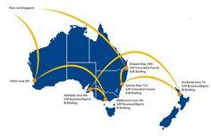 #trackingtimo BI innovations roadshow map Auckland, Singapore, Tours, Australia, Map, Location Map, Maps
