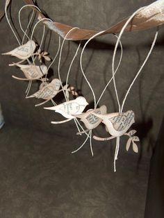 Paper birds for xmas ornaments.