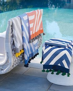 Cute Beach and Pool Towels for Spring-Summer 2019 at Serena & Lily. Cute Beach and P Indoor Outdoor, Outdoor Living, Outdoor Spaces, Sydney Beaches, Pool Chairs, Pool Towels, Bath Towels, Oversized Beach Towels, Beach Blanket