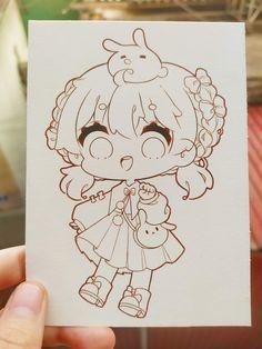 Doodle Art Drawing, Girl Drawing Sketches, Art Drawings Sketches Simple, Drawing Base, Cute Drawings, Cute Anime Chibi, Kawaii Anime Girl, Anime Art Girl, Happy Stickers