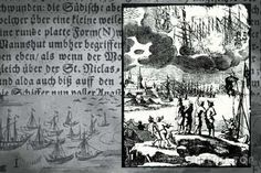 "Fishermen in Barhёfta, Swedish, now  Germany,  April 8, 1665 saw UFOs battling in the air.  Afterwards a dark object hovered in the sky.  ""In the sky there was a flat round shape, like a plate, which resembles a large man's hat ... It was the color of the darkened moon, and hung over the Church of St. Nicholas. It remained motionless until the evening. Fishermen  covered their faces with their hands. The next day they all got sick. Feeling tremors and pain in the head and limbs."""