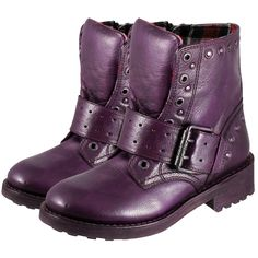 New Belfast Goodyear Welted Punk Boots with Buckle and Belt (Purple)