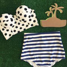 Polka Dot Top $52.50 Stripe swim bottoms $32.50 www.kingdomandstate.com  #swim #swimwear #swimtop #swimbottom #retro #retroswimwear