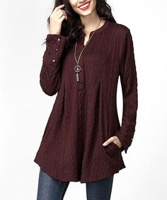 Look what I found on #zulily! Plum Cable-Knit Notch Neck Side-Pocket Tunic #zulilyfinds
