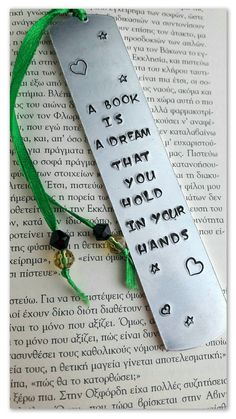 Custom bookmark A book is a dream Metal bookmark Hand stamped Quote Bookmark Personalized bookmark Gift for readers Book lover gift Bookmarks Quotes, Bookmarks For Books, Creative Bookmarks, Custom Bookmarks, Personalized Bookmarks, Diy Bookmarks, Corner Bookmarks, Gifts For Bookworms, Gifts For Readers