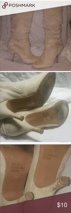 Charlotte Russe boots These have defects at the taps of the heels as seen in the photo they are a light tan almost ivory priced accordingly Charlotte Russe Shoes Heeled Boots