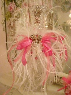 White Feather and Vintage Jeweled Bottle