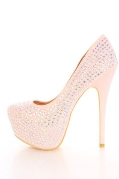 Nude Faux Suede Iridescent Faceted Beaded Platform Pump Heels