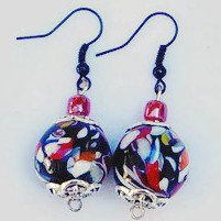 Lamp Work Bead Earrings, Black Lamp Work Beads, Handmade Bead Earrings, Earrings with Black Ear wires, Multi Color Beads, Mother's Day Gift by SunMoonJewels on Etsy