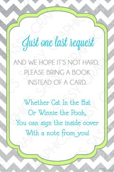 Books for Baby Shower Instead Of Cards Inspirational Boys Baby Shower Bring A Book Insert Card Chevron Gray Green Blue Printable Digital Shower Bebe, Baby Shower Fun, Baby Shower Gender Reveal, Shower Party, Baby Shower Parties, Baby Showers, Thing 1, Baby Sprinkle, Baby Party