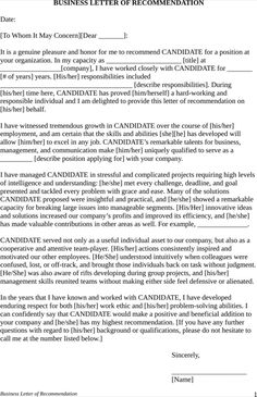 Employment Letter Of Recommendation Template Best Business Case Template  Templates&forms  Pinterest