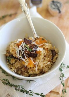 """This butternut squash and porcini mushroom risotto highlights the """"meaty"""" flavor of the mushrooms and the sweetness of the butternut squash, all tied together with porcini sea salt."""