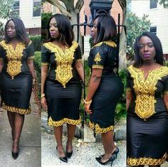 VENTE dames noir robe broderie or grande taille par BournLoondonLtd