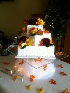 autumn square wedding cakes this 3 tiered buttercream cake is for any fall 10897