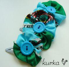 spinki handmade by kurka - turkusowe kwiaty