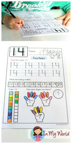 FREE Number concepts no prep worksheet. Writing, counting, number order.