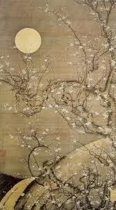 moon, cherry blossom