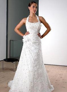 square neck flower embellish halter wedding dresses a line