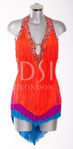 Tangerine Latin Dress as worn by Karen Hauer on Strictly Come Dancing 2014. Designed by Vicky Gill and produced by DSI London
