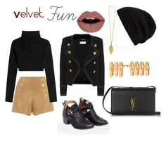 """Velvet Fun"" by alejandravi on Polyvore featuring Valentino, Rick Owens, Yves Saint Laurent and Repossi"