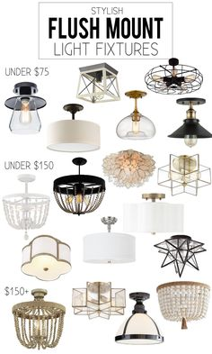 Kitchen Lighting Ideas A gorgeous collection of stylish flush mount light fixtures. The collection focuses on scallop, star, bead, and industrial pieces. Decor, Home Decor Kitchen, Room, Light Fixtures, Modern Light Fixtures, Home Decor, Home Lighting, Living Room Lighting, Room Lights