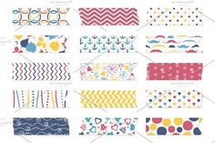 15 Washi tape strips Graphics Washi tape strips, scrapbook elementsZIP contains:- editable EPS10 vector file - PNG file with t by Paper Cards