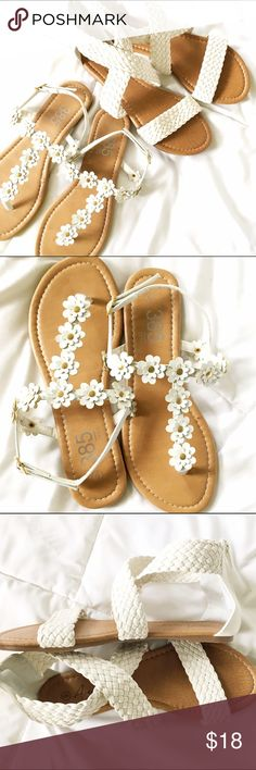 White Sandals Bundle Perfect for summer! Bundle of 2 new white sandals. * Size 6 * T-strap flower stud sandals * Braided cross-cross sandals with back zipper.  Both are new and have never been worn. Shoes Sandals