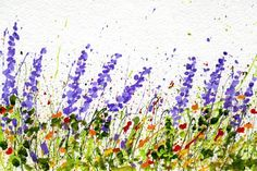Ideas for Splattered Paint Flower Art postcards-myflowerjournal.com