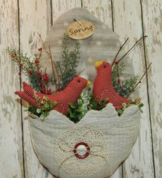 Antique Quilt Egg Red Birds Timer Candle Wall Hanging Door Greeter Easter Spring