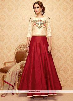 Wonderous Banglori Silk Red Embroidered Work Lehenga Choli