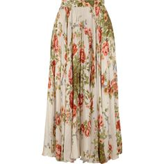 Gucci for NET-A-PORTER Pleated floral-print silk midi skirt (€1.860) ❤ liked on Polyvore featuring skirts, bottoms, gucci, saias, ecru, pink midi skirt, calf length skirts, silk midi skirt, midi skirt and silk pleated skirt