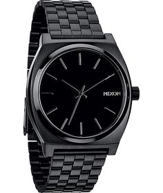 The Nixon Time Teller All Black analog watch is all about simple style and dependable functionality. Look great with a classy black 37mm stainless steel case with 100 meter water resistance and a tapered stretchy 5-link locking bracelet to give the Nixon