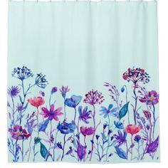 #personalize - #Watercolor Purple Field Flowers Shower Curtain