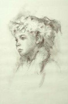 "4th Merit - Non-commissioned Portrait  Donald Mullins, Jr., Island Girl  18 x 24"", Pitt pencil on paper"
