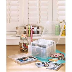 New 600 Photo Organizer Case. Protect and sort your precious pictures with this Organizer Case. The interior of the case has 6 removable containers that can hold up to 100 photos each. It& perfect for grouping your snapshots by year or subject. Decorative Storage Bins, Storage Boxes, Storage Organizers, Storage Ideas, Home Storage Solutions, Book Organization, Organizing, Photo Storage, Interior Design Tips