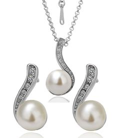 Swarovski White Pearl Dot Earrings & Necklace  $110.00