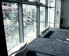 line art window vinyl shadow on floor