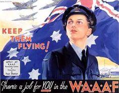"""Kepp Them Flying!"" ~ WWII era WAAAF recruiting poster."