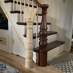 Genuine hand turned century style monestary legs 5 x 5 x Iron Spindle Staircase, Wrought Iron Staircase, Staircase Railings, Staircase Design, Stairs, Staircases, Staircase Ideas, Stair Newel Post, Newel Posts
