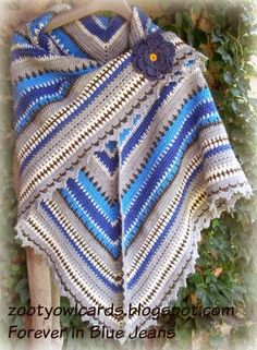 Zooty Owl's Crafty Blog: Triangle Shawl: Forever in Blue Jeans