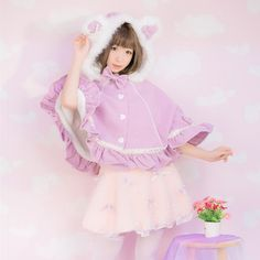 >> Click to Buy << Princess sweet lolita Overcoat sweet bear's ear bobbi pink imitation woollen cloth Bat sleeve Cape with fur collar and bow TS02 #Affiliate