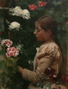 Girl in a Cornish Garden, 1887    Oil on canvas. Private collection.  Thomas Cooper Gotch  1854 - 1931    Although he was a leading figure amongst the core Newlyn School painters, Tom Gotch soon abandoned rural realist narrative painting for a more stylised 'Pre-Raphaelite' approach, to which he seems to have been better suited.