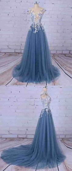 """Use discount code """"ok520"""" for 5% off your purchase Unique Prom Dresses,Princess Prom Dress,Appliqued Prom Dresses,Tulle Evening Dress,Long Prom Dress, Formal Evening Dress"""