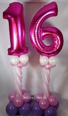 Sweet16 Party! - Mini Pilaren - 16 - Fuchia - van BallonPlus.nl