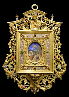 After Jacopo Bassano del Bassano Family Workshop, Holy Water Stoup showing The Adoration of The Magi, Circa Rome. Oil painted on oval Lapis, Ormolu richly pietre dure mounted frame, 47 x 51 cm x 20 in. 16th Century, Mirrors, Rome, Workshop, Jewels, Water, Painting, Gripe Water, Atelier